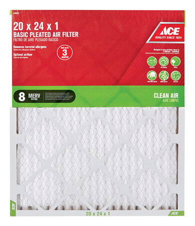 Ace 24 in. L x 20 in. W x 1 in. D Pleated Air Filter 8 MERV