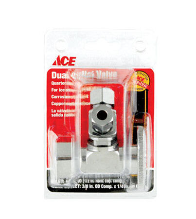 Ace 5/8 in. Dia. x 3/8 in. Dia. Ball Dual Shut-Off Valve Brass