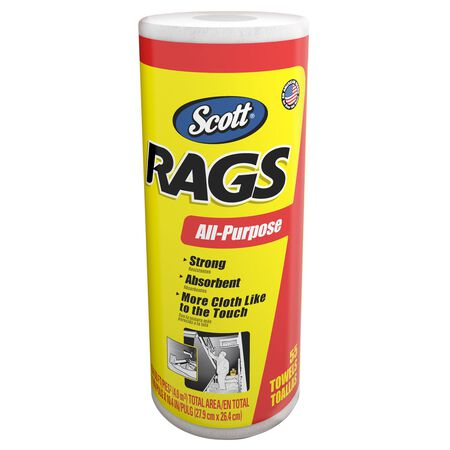 Scott Rags Paper Cleaning Cloth 10.4 in. W x 11 in. L 55 sheets per roll