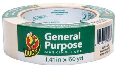 Duck 1.41 in. W x 60 yd. L General Purpose Masking Tape Regular Strength Beige 1 pk