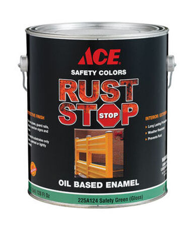 Ace Interior/Exterior Rust Stop Oil-based Enamel Paint Safety Green Gloss 1 gal.