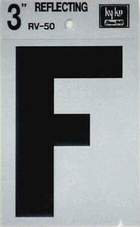 Hy-Ko Self-Adhesive Black Reflective Vinyl Letter F 3 in.
