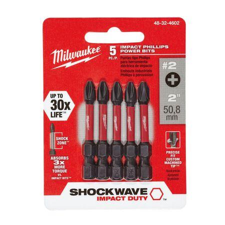 Milwaukee SHOCKWAVE Phillips #2 x 2 in. L Impact Duty Power Bit Alloy Steel 5 pc.