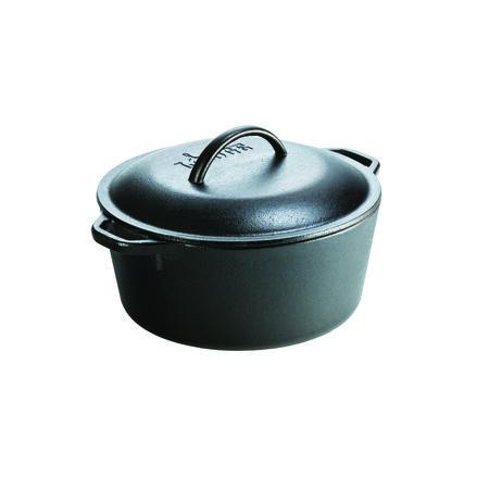 Lodge Cast Iron Dutch Oven Black 12-5/8 in. L x 10-3/8 in. W 5 qt.