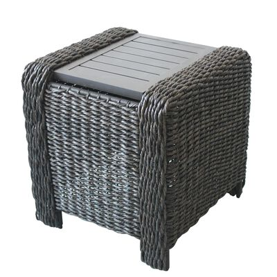 Living Accents Brown Belvedere Square Plastic Wicker Side Table