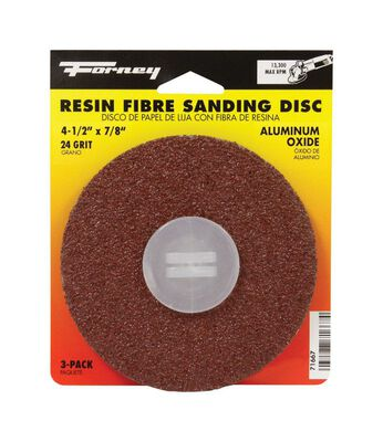 Forney 4-1/2 in. Dia. Sanding Disc 24 Grit Adhesive 3 pk