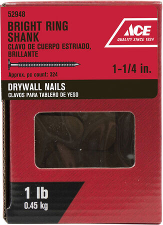 Ace Flat 1-1/4 in. L Drywall Nail Annular Ring Shank Bright Steel 1 lb.