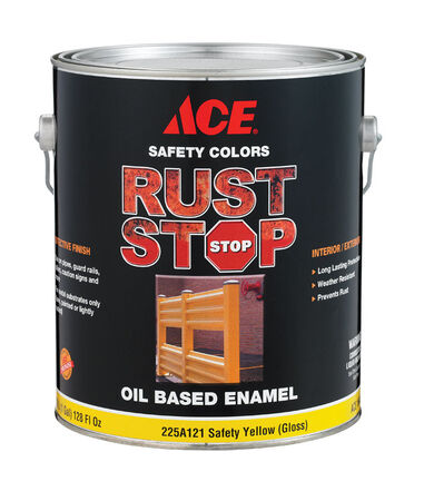 Ace Interior/Exterior Rust Stop Oil-based Enamel Paint Safety Yellow Gloss 1 gal.