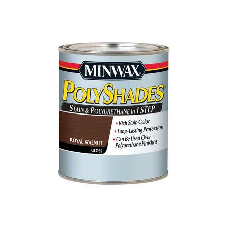 Minwax PolyShades Semi-Transparent Gloss Royal Walnut Oil-Based Stain 1 qt.