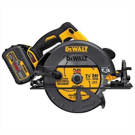 "FLEXVOLT(TM) 60V MAX* 7-1/4"" (184mm) CIRCULAR SAW w/Brake Kit (includes 1 60V LiON Battery and Fast Charger)"