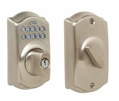Schlage Satin Nickel Electronic Deadbolt 1-3/4 in. For Interior and Exterior Residential Use