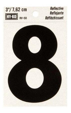 Hy-Ko Self-Adhesive Black Reflective Vinyl Number 8 3 in.