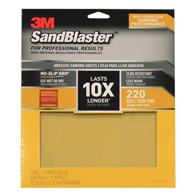 3M SandBlaster Sharp Synthetic Mineral Sandpaper 11 in. L x 9 in. W 220 Grit Fine 4 pk
