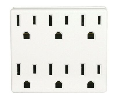 Leviton Polarized 6-Outlet Adapter White 15 amps 125 volts 1 pk