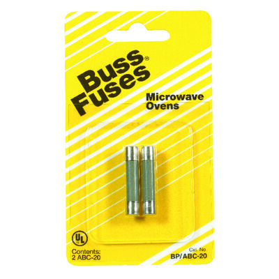Bussmann Fast Acting Fuse 20 amps 250 volts 1/4 in. Dia. x 1-1/4 in. L 2 pk For Microwave Oven