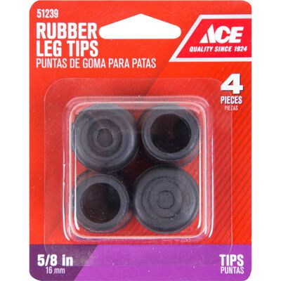 Ace Rubber Round Leg Tip Black 5/8 in. W 4 pk