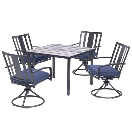 Living Accents Waterville 5 pc. Black Steel Dining Patio Set Navy