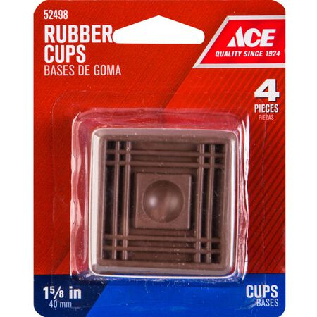 Ace Rubber Square Caster Cup Brown 1-1/2 in. W x 1-1/2 in. L 4 pk