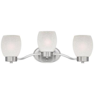 Westinghouse White Brushed Nickel Glass Karah 3 Light Wall Fixture 1 pk