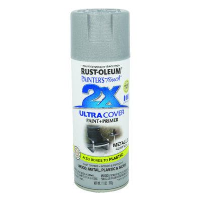 Rust-Oleum Painter's Touch Ultra Cover Aluminium Satin 2x Paint+Primer Enamel Spray 12 oz.