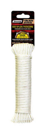 SecureLine 5/32 in. Dia. x 50 ft. L Braided Nylon Paracord White