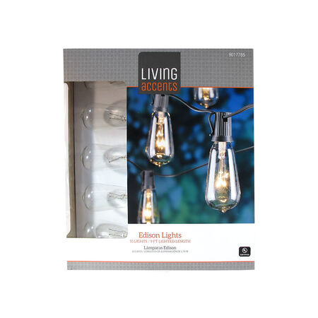 Living Accents Incandescent Edison String Lights Clear 108 in. 10 lights