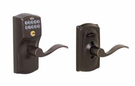 Schlage Camelot Electronic Keypad Entry Lock Steel Aged Bronze 2 Grade Left Handed Right Hande