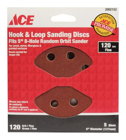 Ace 5 in. Dia. Sanding Disc 120 Grit Fine Hook and Loop 5 pk