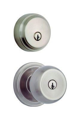 HAMPTON Brinks Home Security Stafford Satin Nickel Single Cylinder Lock For All Home Doors KW1