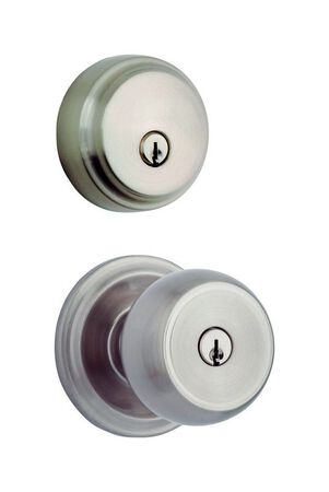 HAMPTON Brinks Home Security Stafford Satin Nickel Single Cylinder Lock For All Home Doors KW1