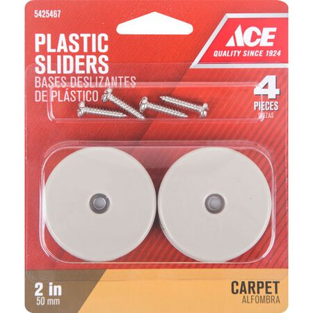Ace Plastic Round Slide Glide Off-White 2 in. W 4 pk