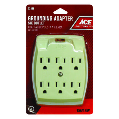 Ace Grounded 6-Outlet Adapter Ivory 15 amps 125 volts 1 pk