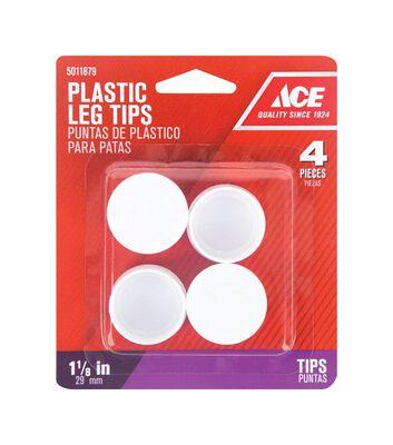 Ace Plastic Round Leg Tip White 1-1/8 in. W x 1-1/8 in. L 4 pk