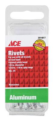 Ace 1/8 in. Dia. x 1/8 in. Aluminum Rivets 25 pk