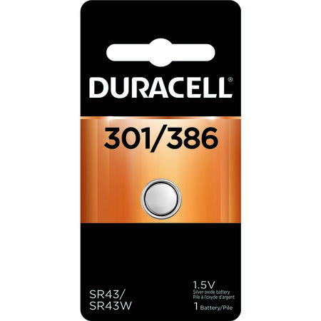 Duracell 301/386 Silver Oxide Watch/Electronic Battery 1.5 volts 1 pk