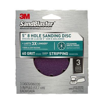 3M 5 in. Dia. Sanding Disc 60 Grit Coarse Hook and Loop 3 pk