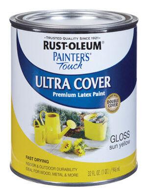 Rust-Oleum Interior/Exterior Latex Interior/Exterior Acrylic Latex Sun Yellow Gloss 1 qt. Wate