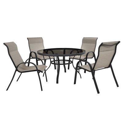 Living Accents Brown Round Glass Dining Table