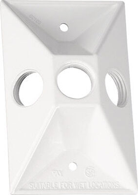 Sigma Rectangle Die Cast Aluminum 1 gang Lampholder Cover For Protection from weather White