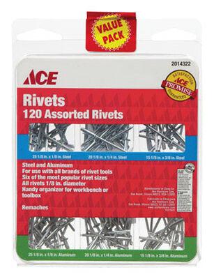 Ace 1/8 in. Dia. x 1/8 in. Aluminum Steel Assorted Rivets 120 pk