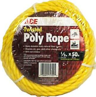 Ace 1/2 in. Dia. x 50 ft. L Twisted Poly Rope Yellow
