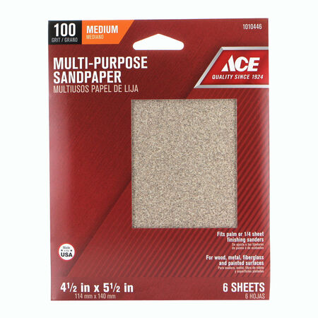 Ace 5-1/2 in. L x 4-1/2 in. W 100 Grit Aluminum Oxide 1/4 Sheet Sandpaper 6 pk