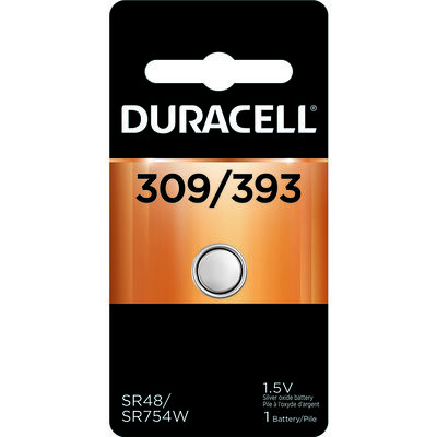Duracell 309/393 Silver Oxide Watch/Electronic Battery 1.5 volts 1 pk