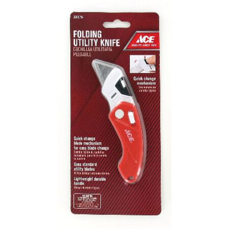 Ace Folding 0.4 in. L Utility Knife Red