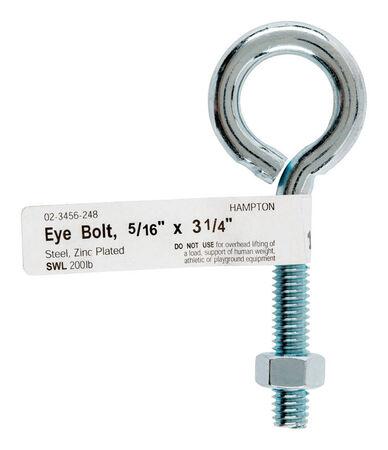 Hampton Zinc Plated Steel 3-1/4 in. L Eyebolt