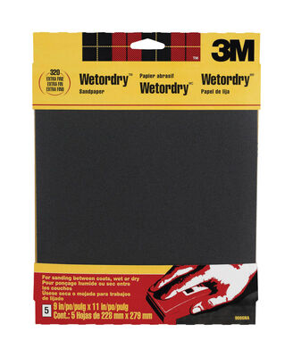 3M Silicon Carbide Sandpaper 11 in. L 320 Grit Extra Fine 5 pk