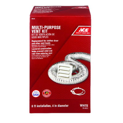 Ace Dryer Vent Kit 4 in. W White