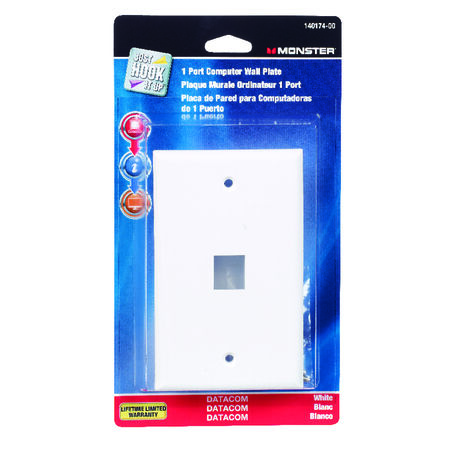 Monster Cable Just Hook It Up 1 gang White Plastic Cable/Telco Datacom Wall Plate 1 pk