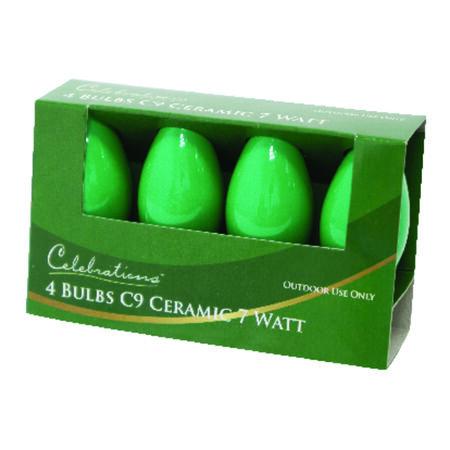 Celebrations Ceramic C9 Incandescent Replacement Bulb Green 4 lights