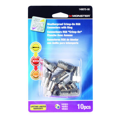 Monster Cable Just Hook It Up Crimp on RG6 Connectors Silver 10 pk